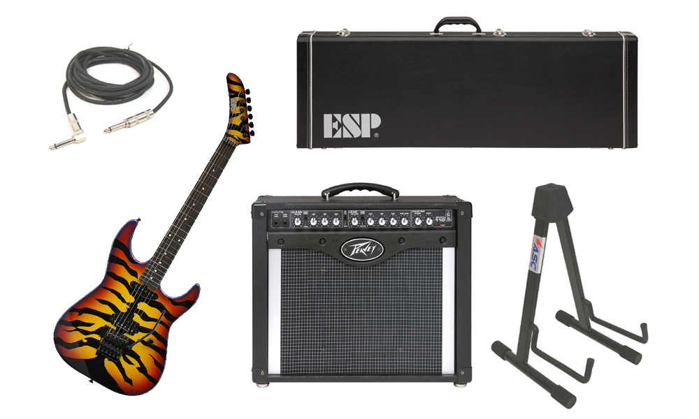 """ESP Signature George Lynch Sunburst Tiger Maple Body 6 String Rosewood Fingerboard Sunburst Graphic Electric Guitar with Peavey Envoy 110 Tube Amp, 1/4"""" Cable & Stand"""