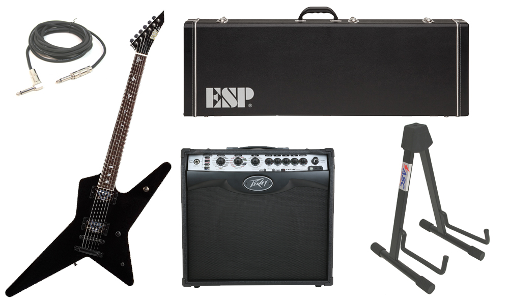 """ESP Signature Gus G. Alder Body 6 String Rosewood Fingerboard Black Electric Guitar with Peavey VIP 2 Modeling Amp, 1/4"""" Cable & Stand"""