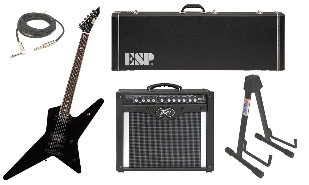 "ESP Signature Gus G. Alder Body 6 String Rosewood Fingerboard Black Electric Guitar with Peavey Envoy 110 Tube Amp, 1/4"" Cable & Stand"