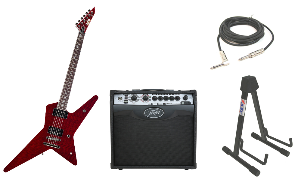 """ESP Signature Gus G. 600NT Flamed Maple Top 6 String Rosewood Fingerboard See Through Black Cherry Electric Guitar with Peavey VIP 1 Modeling Amp, 1/4"""" Cable & Stand"""