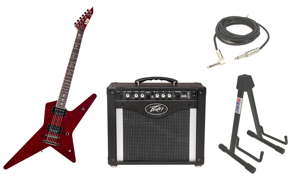 """ESP Signature Gus G. 600NT Flamed Maple Top 6 String Rosewood Fingerboard See Through Black Cherry Electric Guitar with Peavey Rage 258 TransTube Amp, 1/4"""" Cable & Stand"""