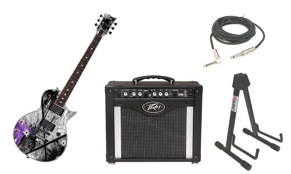 """ESP Signature Gus G. 600EC Mahogany Body 6 String Rosewood Fingerboard Custom Graphic Electric Guitar with Peavey Rage 258 TransTube Amp, 1/4"""" Cable & Stand"""