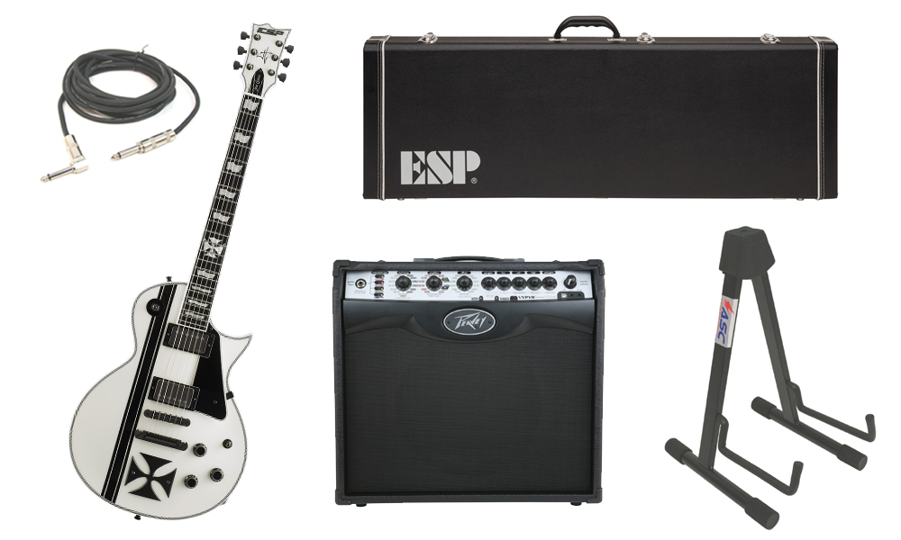 "ESP Signature James Hetfield Iron Cross SW Mahogany Body 6 String Ebony Fingerboard Snow White & Graphic Electric Guitar with Peavey VIP 2 Modeling Amp, 1/4"" Cable & Stand"