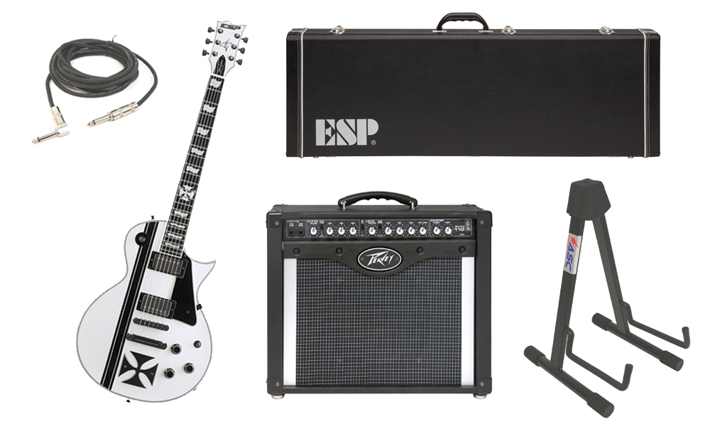 """ESP Signature James Hetfield Iron Cross SW Mahogany Body 6 String Ebony Fingerboard Snow White & Graphic Electric Guitar with Peavey Envoy 110 Tube Amp, 1/4"""" Cable & Stand"""