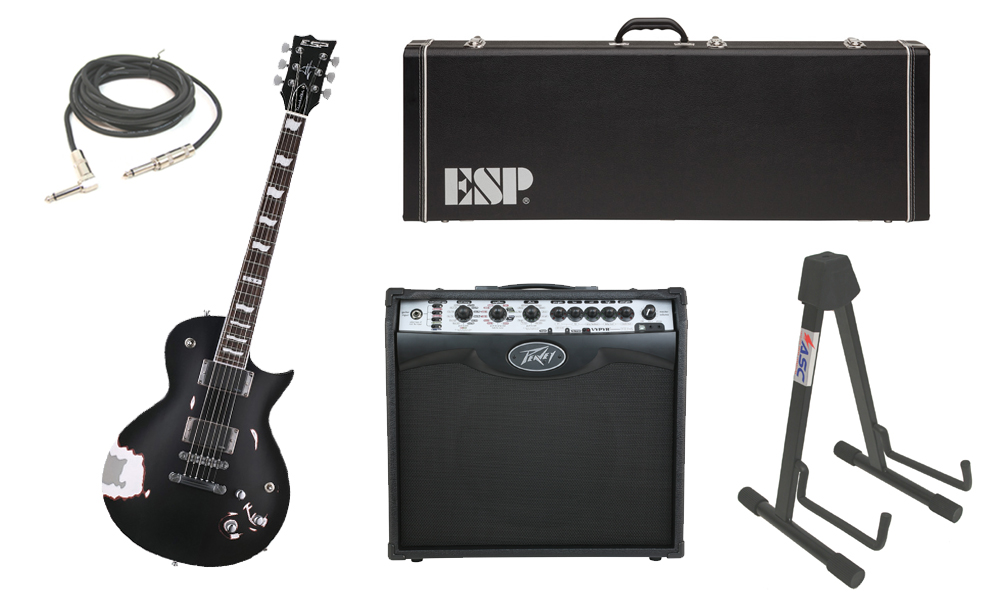 """ESP Signature James Hetfield Truckster Mahogany Body 6 String Rosewood Fingerboard Aged Black Satin Electric Guitar with Peavey VIP 2 Modeling Amp, 1/4"""" Cable & Stand"""