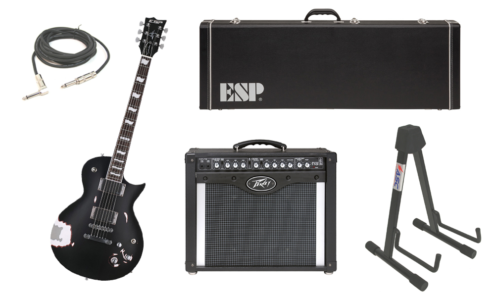 """ESP Signature James Hetfield Truckster Mahogany Body 6 String Rosewood Fingerboard Aged Black Satin Electric Guitar with Peavey Envoy 110 Tube Amp, 1/4"""" Cable & Stand"""