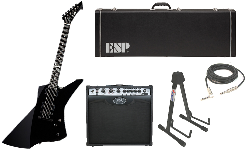 """ESP Signature James Hetfield Snakebyte Mahogany Body 6 String Ebony Fingerboard Black Electric Guitar with Peavey VIP 2 Modeling Amp, 1/4"""" Cable & Stand"""