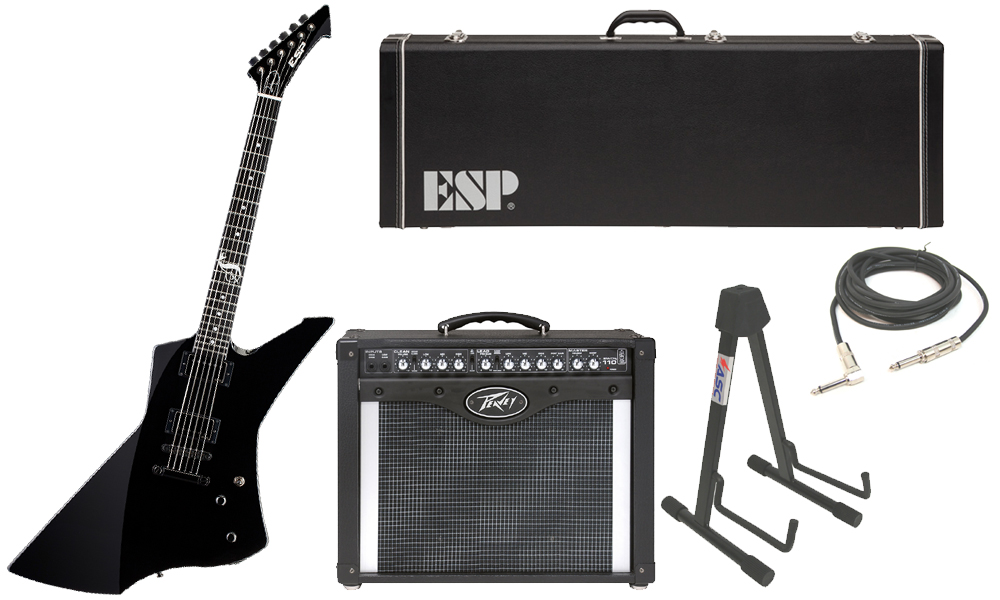 """ESP Signature James Hetfield Snakebyte Mahogany Body 6 String Ebony Fingerboard Black Electric Guitar with Peavey Envoy 110 Tube Amp, 1/4"""" Cable & Stand"""