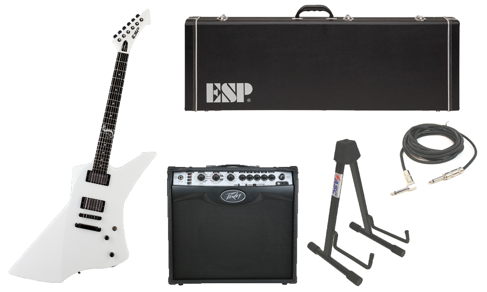 """ESP Signature James Hetfield Snakebyte Mahogany Body 6 String Ebony Fingerboard Snow White Electric Guitar with Peavey VIP 2 Modeling Amp, 1/4"""" Cable & Stand"""