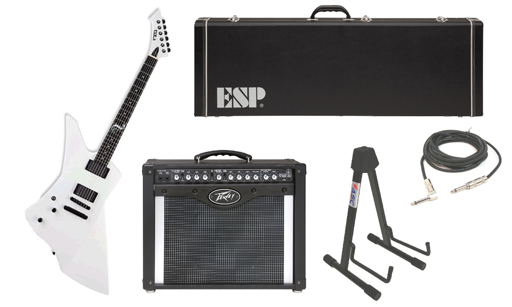 """ESP Signature James Hetfield Snakebyte Mahogany Body 6 String Ebony Fingerboard Snow White Electric Guitar (Left Hand) with Peavey Envoy 110 Tube Amp, 1/4"""" Cable & Stand"""