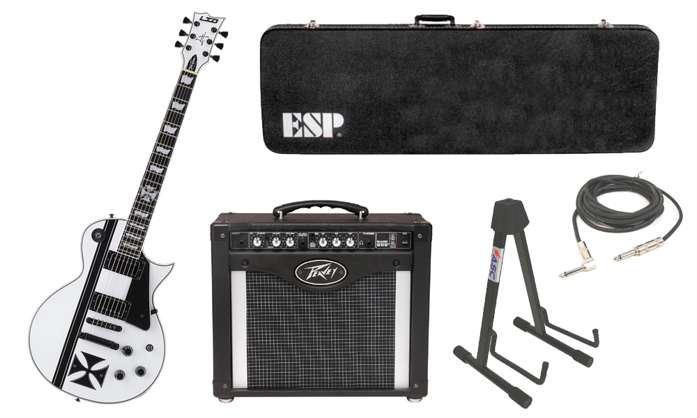 """ESP Signature James Hetfield LTD Iron Cross SW Mahogany Body 6 String Ebony Fingerboard Snow White & Graphic Electric Guitar with Peavey Rage 258 TransTube Amp, 1/4"""" Cable & Stand"""