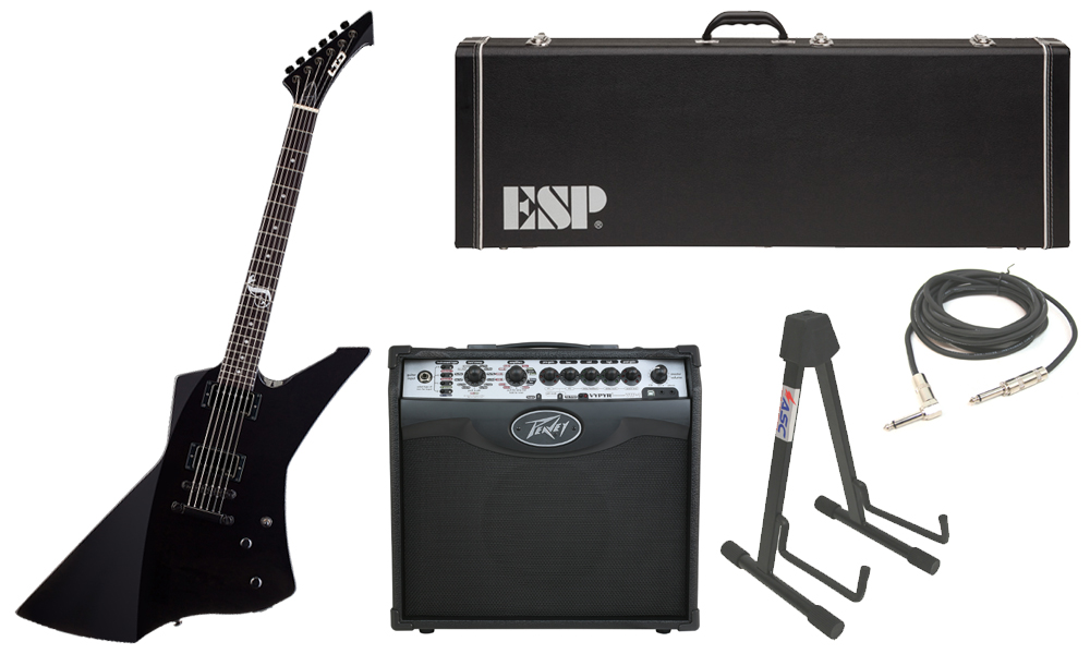 """ESP Signature James Hetfield LTD Snakebyte Mahogany Body 6 String Ebony Fingerboard Black Electric Guitar with Peavey VIP 1 Modeling Amp, 1/4"""" Cable & Stand"""