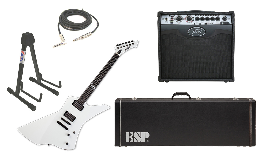 """ESP Signature James Hetfield LTD Snakebyte Mahogany Body 6 String Ebony Fingerboard Snow White Electric Guitar with Peavey VIP 1 Modeling Amp, 1/4"""" Cable & Stand"""