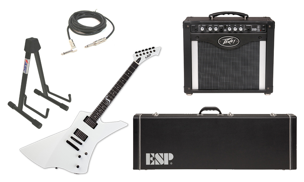 "ESP Signature James Hetfield LTD Snakebyte Mahogany Body 6 String Ebony Fingerboard Snow White Electric Guitar with Peavey Rage 258 TransTube Amp, 1/4"" Cable & Stand"