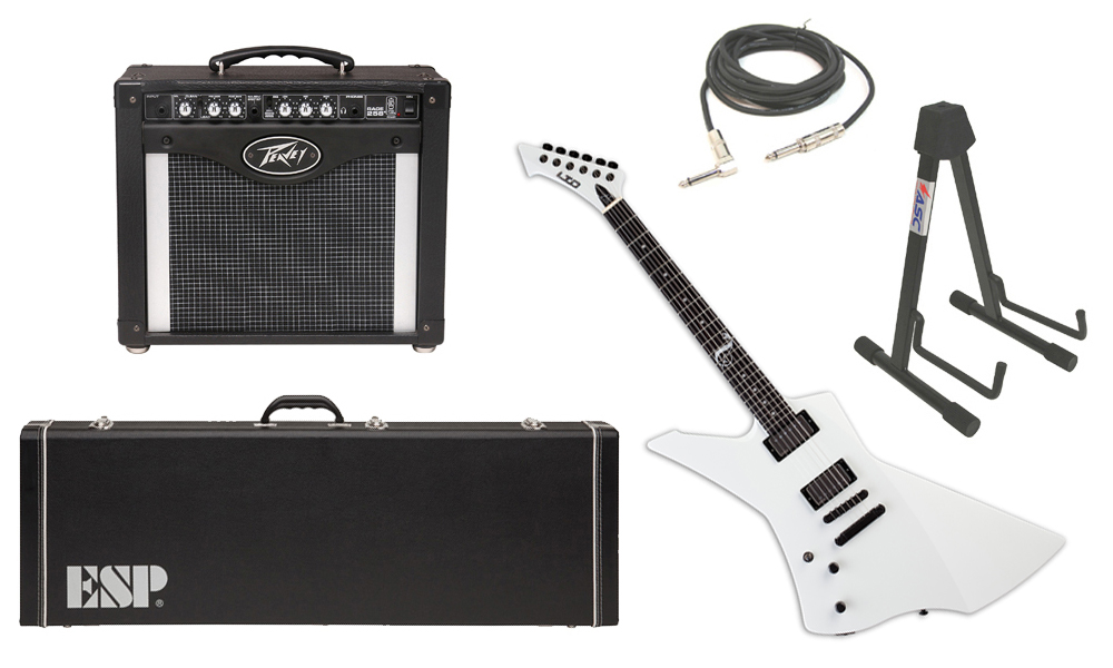 """ESP Signature James Hetfield LTD Snakebyte Mahogany Body 6 String Ebony Fingerboard Snow White Electric Guitar (Left Hand) with Peavey Rage 258 TransTube Amp, 1/4"""" Cable & Stand"""
