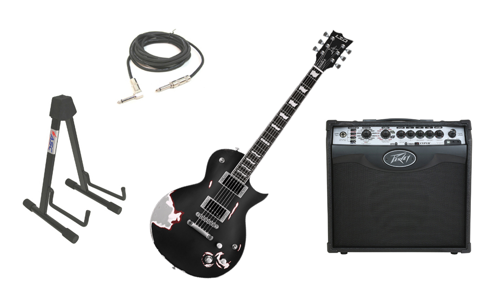"""ESP Signature James Hetfield LTD Truckster Mahogany Body 6 String Rosewood Fingerboard Aged Black Satin Electric Guitar with Peavey VIP 1 Modeling Amp, 1/4"""" Cable & Stand"""