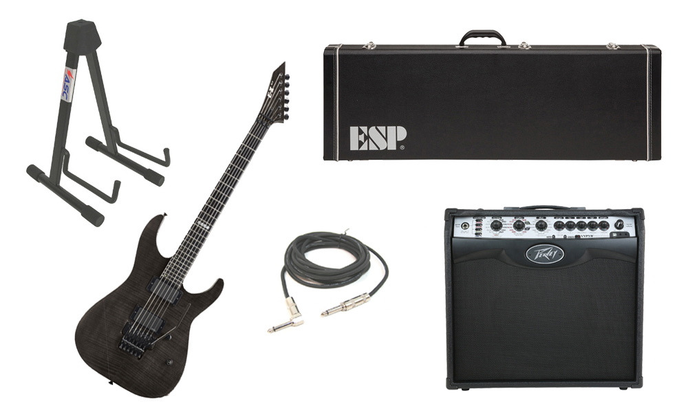 """ESP E-II M Series Flamed Maple Top 6 String See Through Black Electric Guitar with Peavey VIP 2 Modeling Amp, 1/4"""" Cable & Stand"""