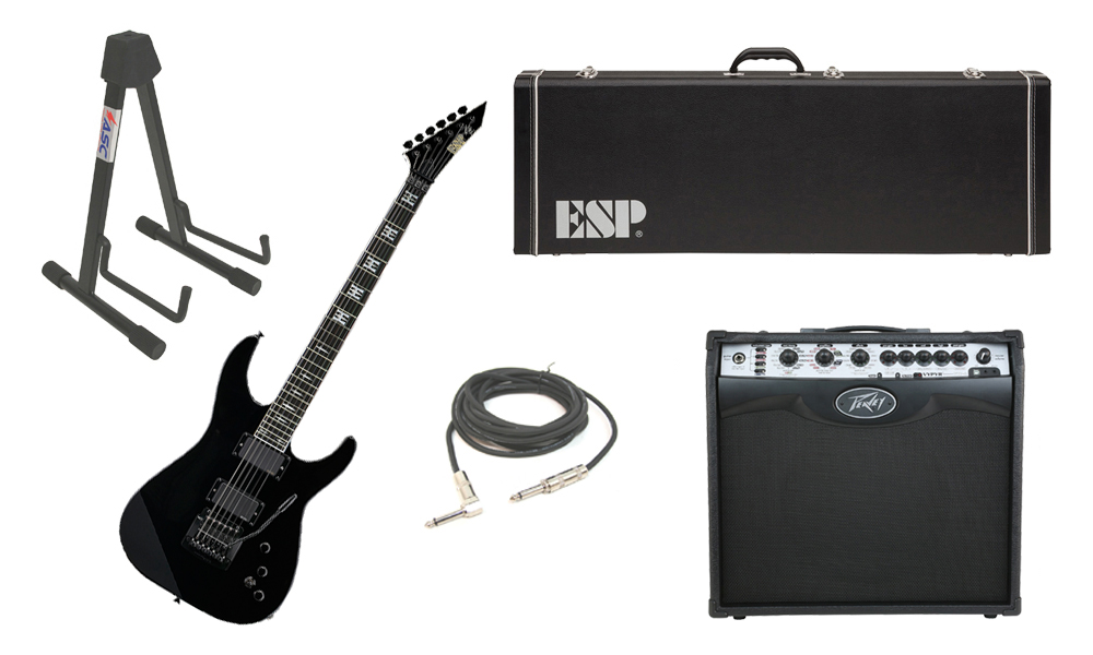 "ESP Signature Jeff Hanneman Alder Body 6 String Ebony Fingerboard Black Electric Guitar with Peavey VIP 2 Modeling Amp, 1/4"" Cable & Stand"