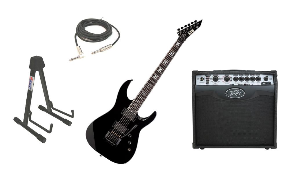 "ESP Signature Jeff Hanneman JH-600 Alder Body 6 String Ebony Fingerboard Black Electric Guitar with Peavey VIP 1 Modeling Amp, 1/4"" Cable & Stand"