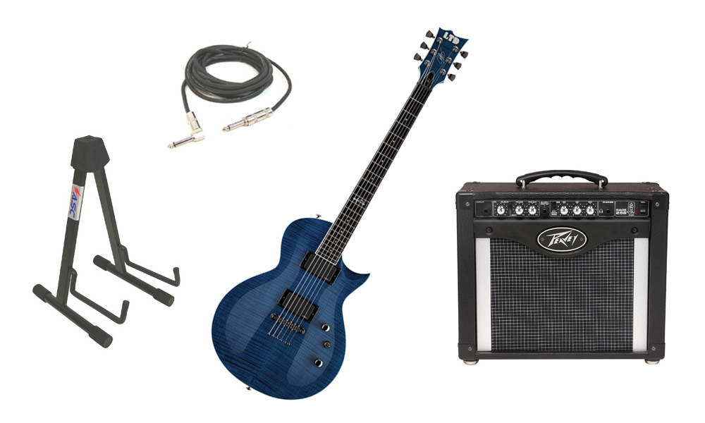 """ESP Signature Jeff Kendrick JK-1 Flamed Maple Top 6 String Rosewood Fingerboard Dark See Through Blue Electric Guitar with Peavey Rage 258 TransTube Amp, 1/4"""" Cable & Stand"""