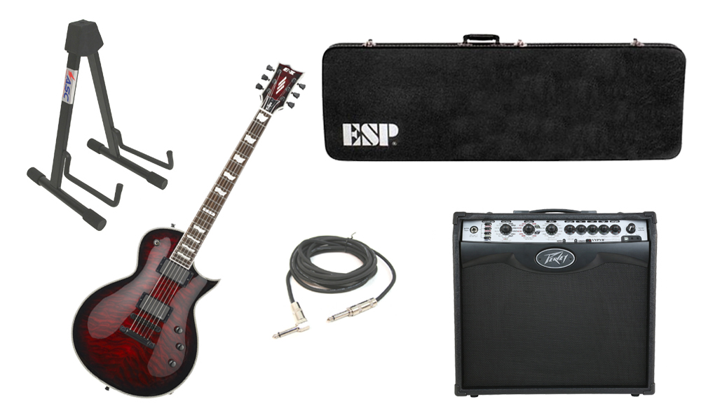 "ESP E-II Eclipse Quilted Maple Top 6 String See Through Black Cherry Sunburst Electric Guitar with Peavey VIP 2 Modeling Amp, 1/4"" Cable & Stand"