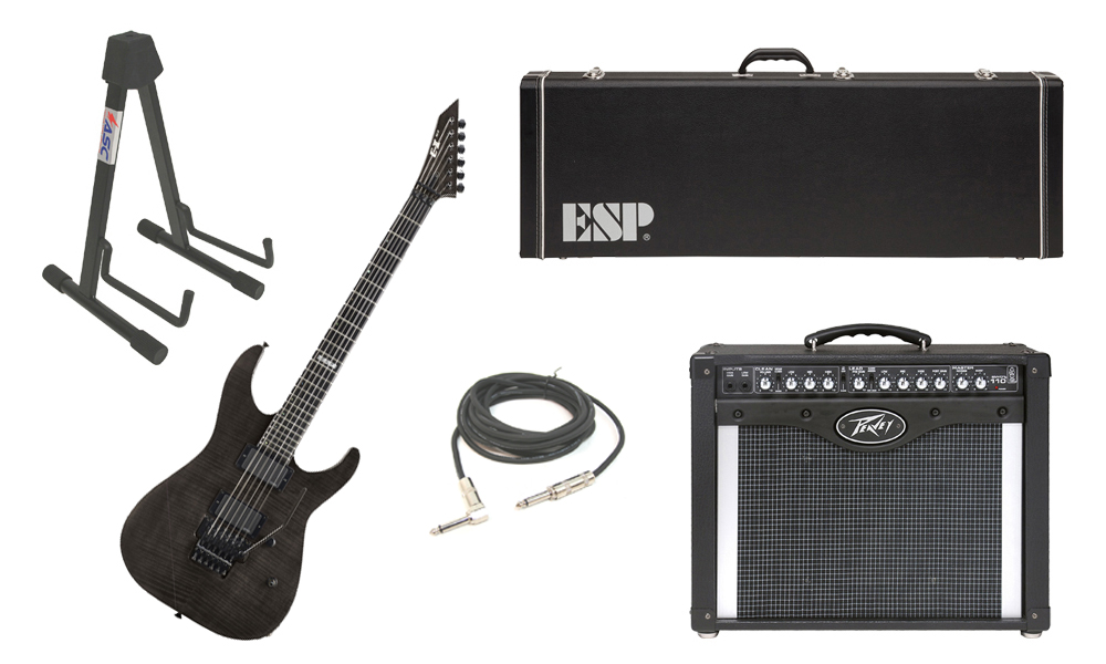 """ESP E-II M Series Flamed Maple Top 6 String See Through Black Electric Guitar with Peavey Envoy 110 Tube Amp, 1/4"""" Cable & Stand"""