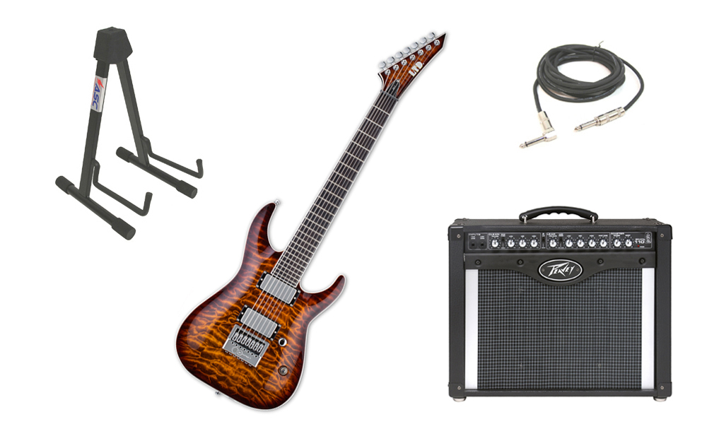 "ESP Signature Ken Susi KS-7 Quilted Maple Top 6 String Ebony Fingerboard Dark Brown Sunburst Electric Guitar with Peavey Envoy 110 Tube Amp, 1/4"" Cable & Stand"