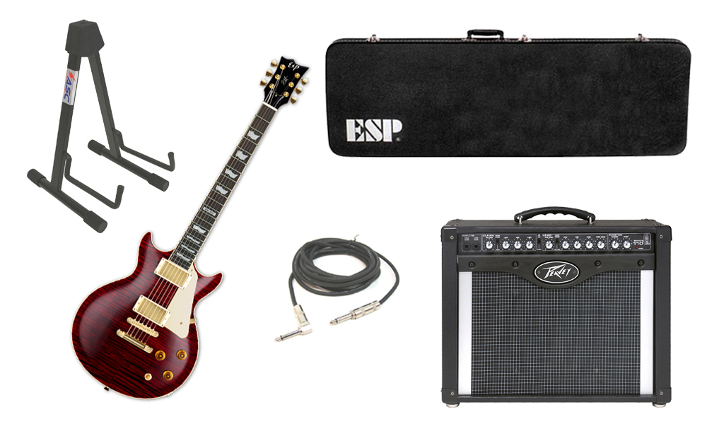"""ESP Signature Kirk Hammett KH-DC Mahogany Body 6 String Rosewood Fingerboard See Through Black Cherry Electric Guitar with Peavey Envoy 110 Tube Amp, 1/4"""" Cable & Stand"""