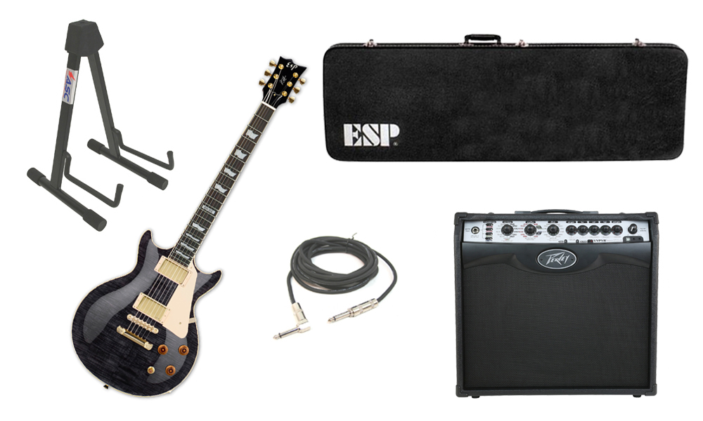 """ESP Signature Kirk Hammett KH-DC Mahogany Body 6 String Rosewood Fingerboard See Through Black Electric Guitar with Peavey VIP 2 Modeling Amp, 1/4"""" Cable & Stand"""