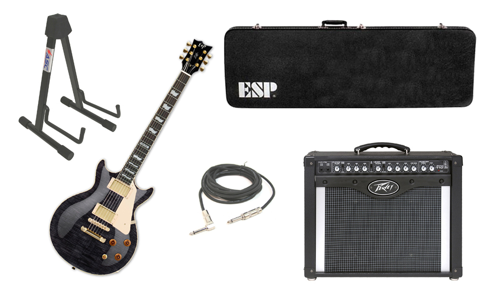 "ESP Signature Kirk Hammett KH-DC Mahogany Body 6 String Rosewood Fingerboard See Through Black Electric Guitar with Peavey Envoy 110 Tube Amp, 1/4"" Cable & Stand"