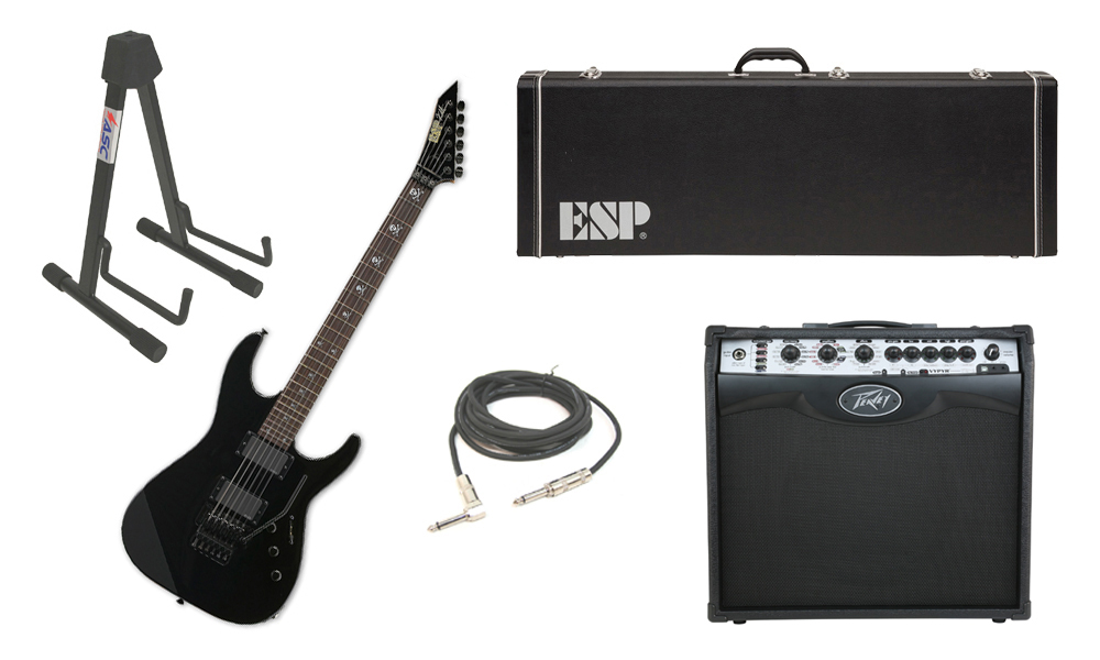 """ESP Signature Kirk Hammett KH-2 Alder Body 6 String Rosewood Fingerboard Black Electric Guitar with Peavey VIP 2 Modeling Amp, 1/4"""" Cable & Stand"""