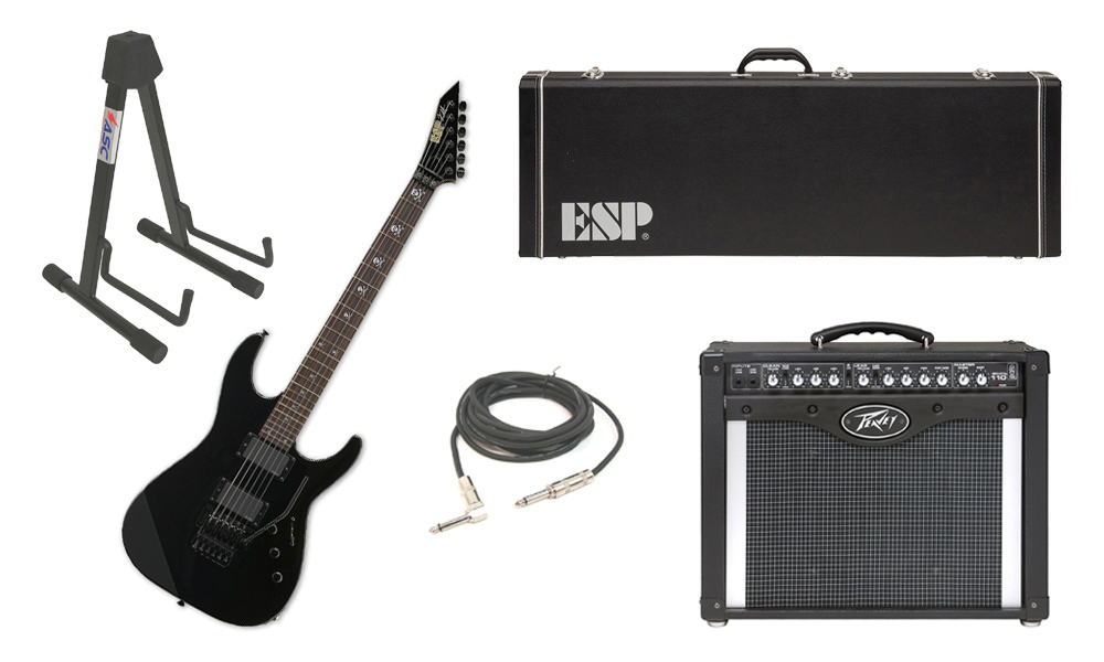 "ESP Signature Kirk Hammett KH-2 Alder Body 6 String Rosewood Fingerboard Black Electric Guitar with Peavey Envoy 110 Tube Amp, 1/4"" Cable & Stand"