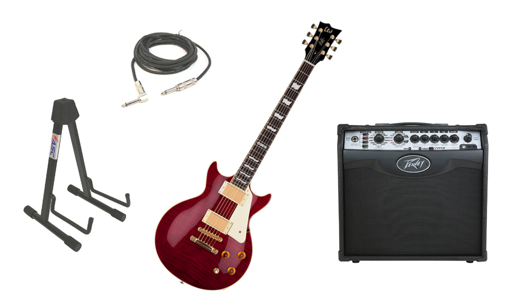 "ESP Signature Kirk Hammett LTD KH-DC Mahogany Body 6 String Rosewood Fingerboard See Through Black Cherry Electric Guitar with Peavey VIP 1 Modeling Amp, 1/4"" Cable & Stand"