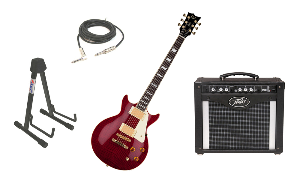 """ESP Signature Kirk Hammett LTD KH-DC Mahogany Body 6 String Rosewood Fingerboard See Through Black Cherry Electric Guitar with Peavey Rage 258 TransTube Amp, 1/4"""" Cable & Stand"""