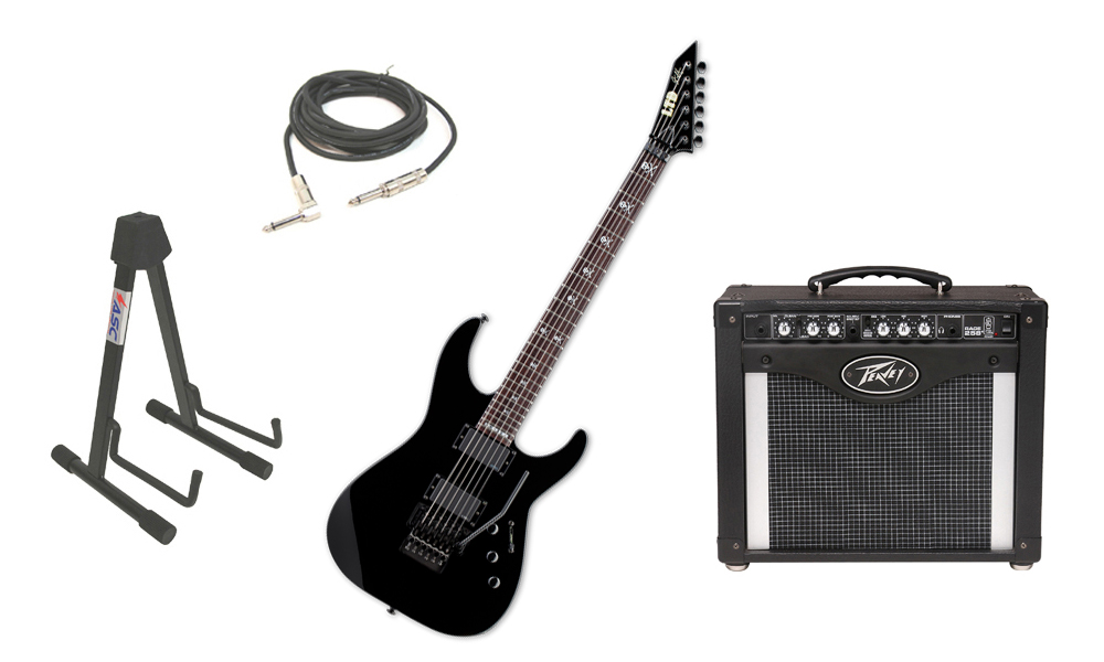 "ESP Signature Kirk Hammett KH-602 Alder Body 6 String Rosewood Fingerboard Black Electric Guitar with Peavey Rage 258 TransTube Amp, 1/4"" Cable & Stand"