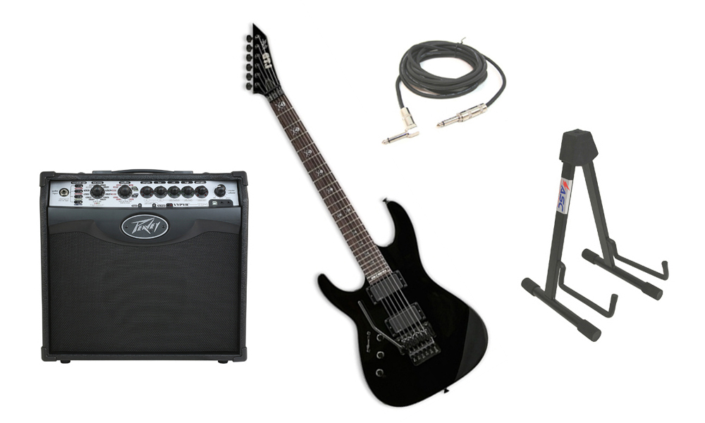 """ESP Signature Kirk Hammett KH-602 Alder Body 6 String Rosewood Fingerboard Black Electric Guitar (Left Hand) with Peavey VIP 1 Modeling Amp, 1/4"""" Cable & Stand"""