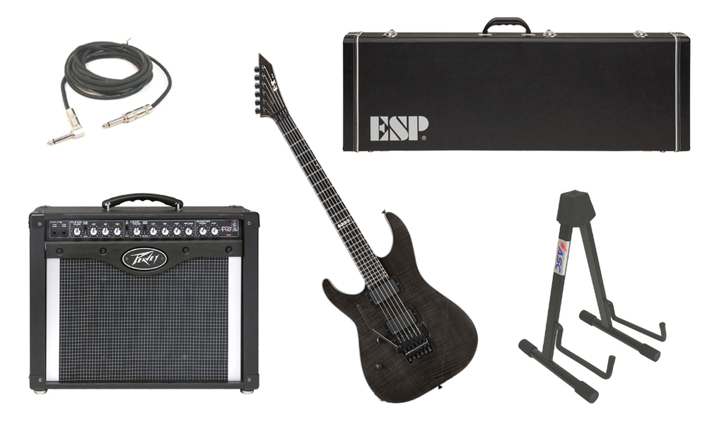 """ESP E-II M Series Flamed Maple Top 6 String See Through Black (Left Hand) Electric Guitar with Peavey Envoy 110 Tube Amp, 1/4"""" Cable & Stand"""