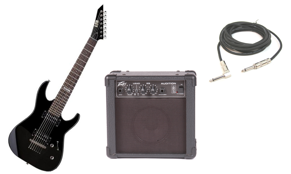 """ESP Signature Kirk Hammett KH-330 Basswood Body 6 String Rosewood Fingerboard Black Electric Guitar (Left Hand) with Peavey Audition Practice Amp & 1/4"""" Cable"""