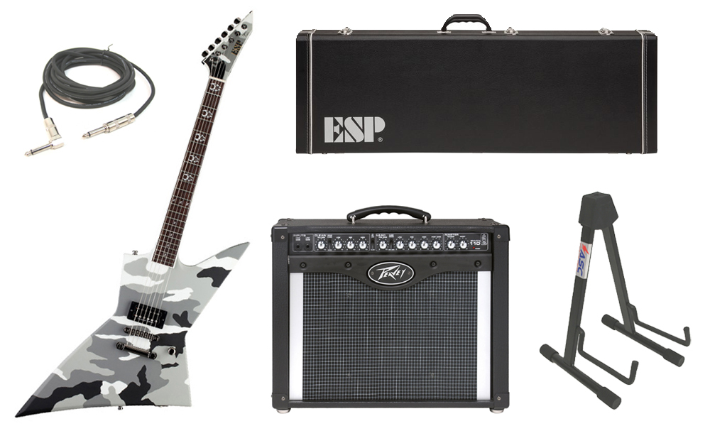 "ESP Signature Max Cavalera EX Mahogany Body 6 String Rosewood Fingerboard Urban Camo Electric Guitar with Peavey Envoy 110 Tube Amp, 1/4"" Cable & Stand"