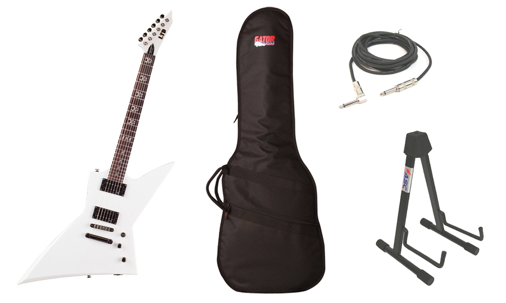 "ESP Signature Max Cavalera MAX-200 Basswood Body 6 String Rosewood Fingerboard Snow White Electric Guitar with Travel Gig Bag, Stand & 1/4"" Cable"