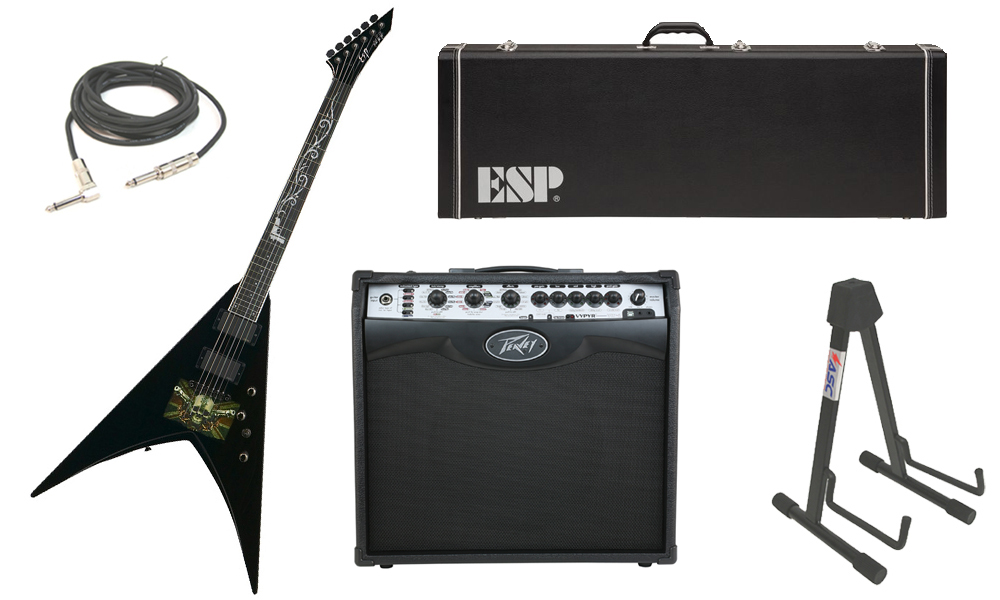 "ESP Signature Mark Paget V Mahogany Body 6 String Ebony Fingerboard Black Graphic Electric Guitar with Peavey VIP 2 Modeling Amp, 1/4"" Cable & Stand"