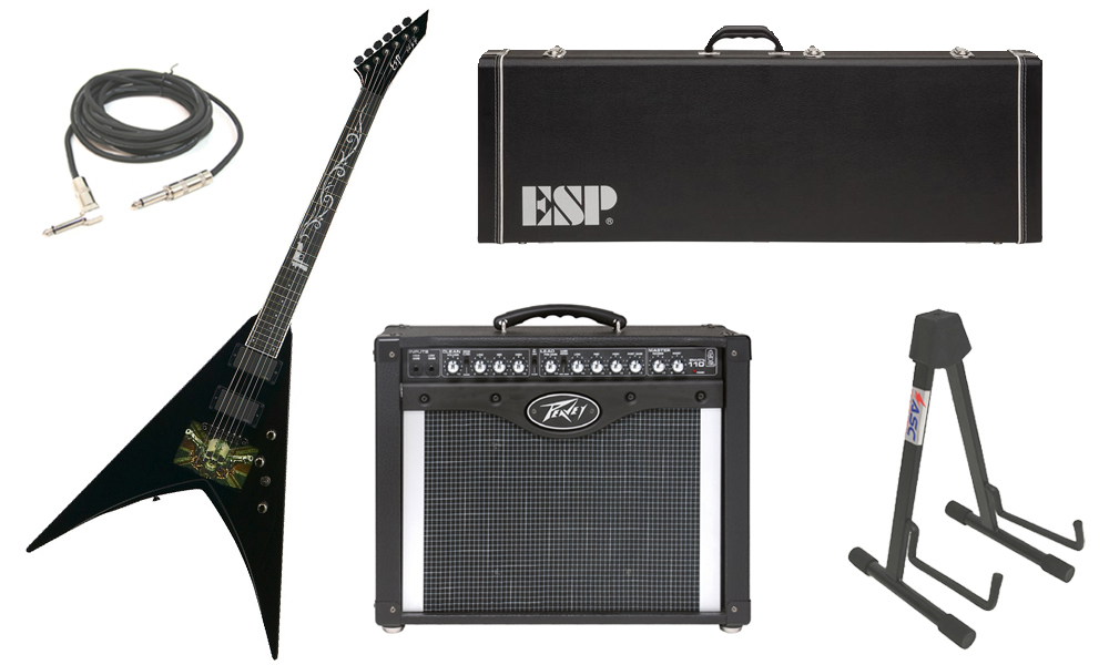 "ESP Signature Mark Paget V Mahogany Body 6 String Ebony Fingerboard Black Graphic Electric Guitar with Peavey Envoy 110 Tube Amp, 1/4"" Cable & Stand"