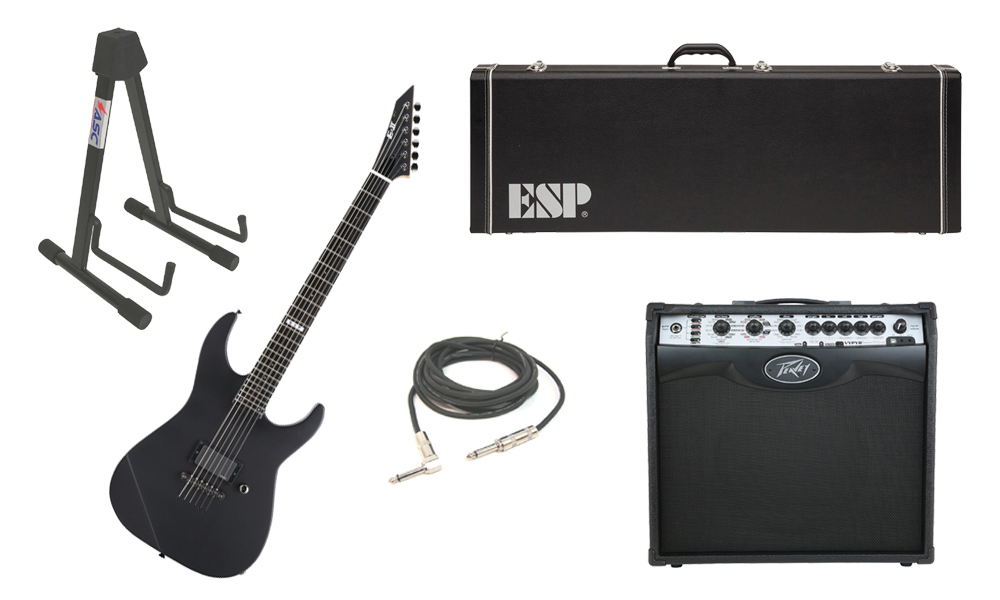 """ESP E-II M Series Maple Top 6 String Black Satin Electric Guitar with Peavey VIP 2 Modeling Amp, 1/4"""" Cable & Stand"""