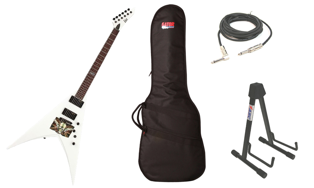 "ESP Signature Mark Paget MP-330 Basswood Body 6 String Ebony Fingerboard Snow White Graphic Electric Guitar with Travel Gig Bag, Stand & 1/4"" Cable"