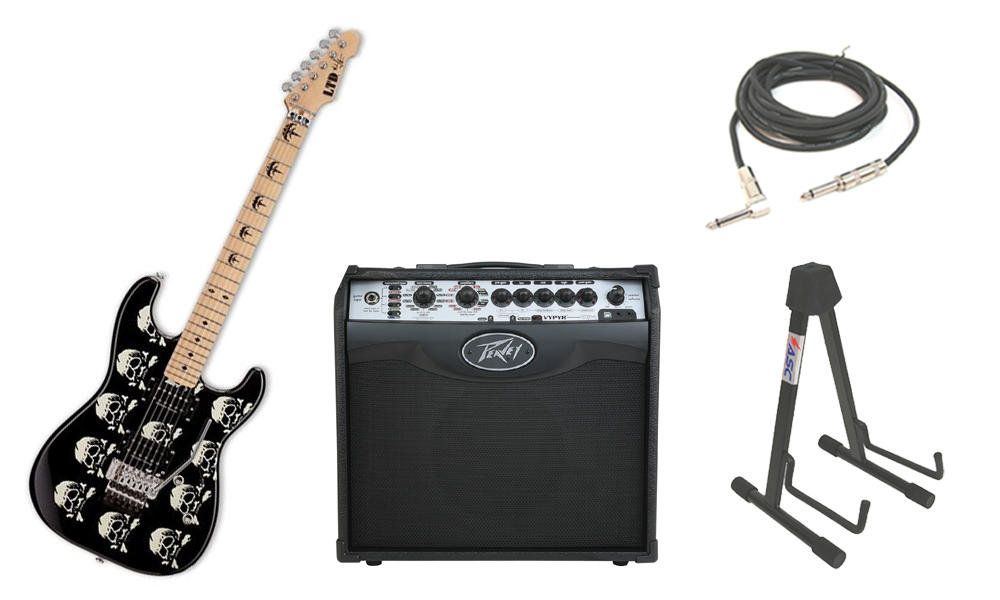 """ESP Signature Michael Wilton MW-SKULL Alder Body 6 String Maple Fingerboard Black Skull Electric Guitar with Peavey VIP 1 Modeling Amp, 1/4"""" Cable & Stand"""
