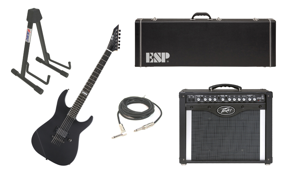 "ESP E-II M Series Maple Top 6 String Black Satin Electric Guitar with Peavey Envoy 110 Tube Amp, 1/4"" Cable & Stand"