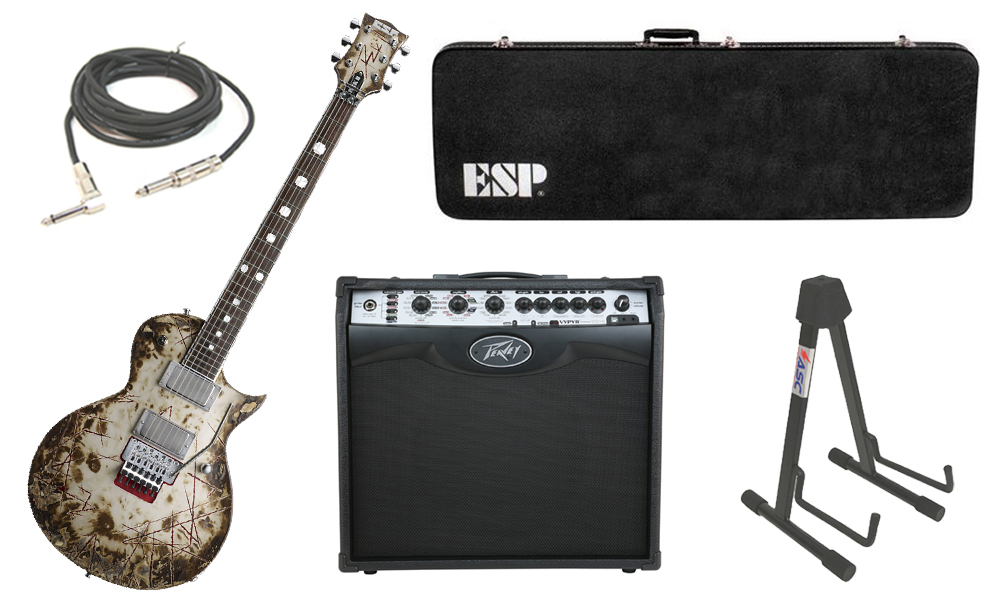 """ESP Signature Richard Z RZK-II Burnt Alder Body 6 String Rosewood Fingerboard Distressed Electric Guitar with Peavey VIP 2 Modeling Amp, 1/4"""" Cable & Stand"""