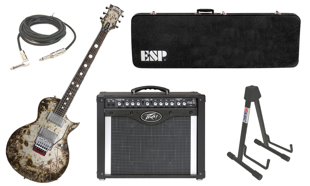 """ESP Signature Richard Z RZK-II Burnt Alder Body 6 String Rosewood Fingerboard Distressed Electric Guitar with Peavey Envoy 110 Tube Amp, 1/4"""" Cable & Stand"""