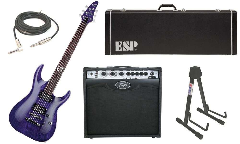 """ESP Signature Rob Caggiano Ash Body 6 String Rosewood Fingerboard See Through Purple Electric Guitar with Peavey VIP 2 Modeling Amp, 1/4"""" Cable & Stand"""