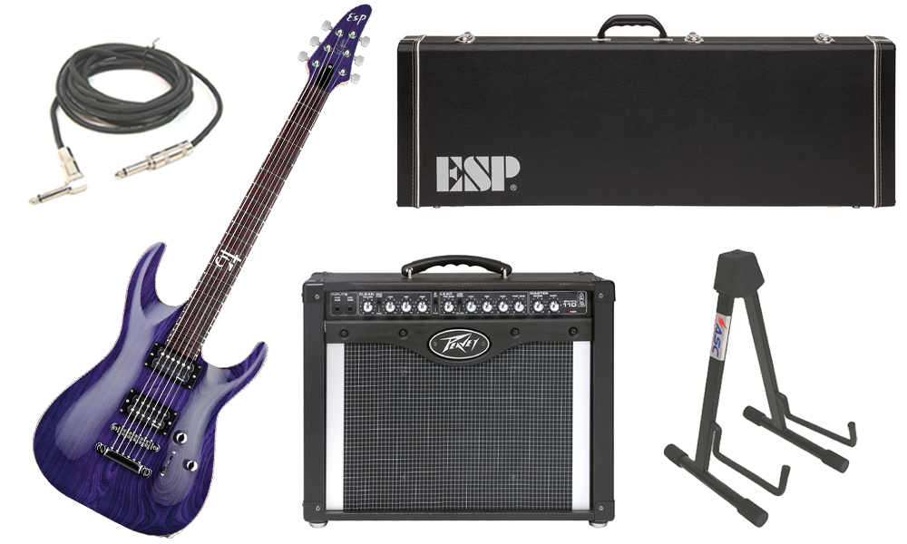 """ESP Signature Rob Caggiano Ash Body 6 String Rosewood Fingerboard See Through Purple Electric Guitar with Peavey Envoy 110 Tube Amp, 1/4"""" Cable & Stand"""